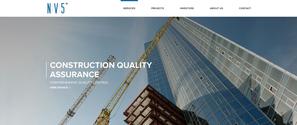 Homepage of NV5 a construction quality assurance company. Designed by Evoke Design.